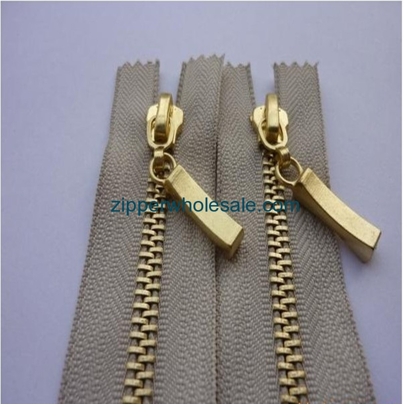 gold metal zippers wholesale
