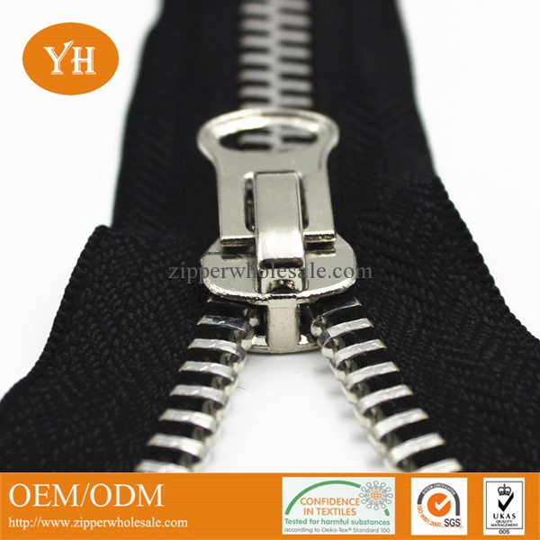 silver metal zippers wholesale