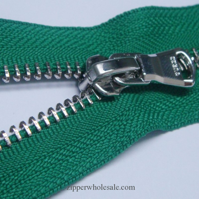 shiny nickel plated metal zippers wholesale