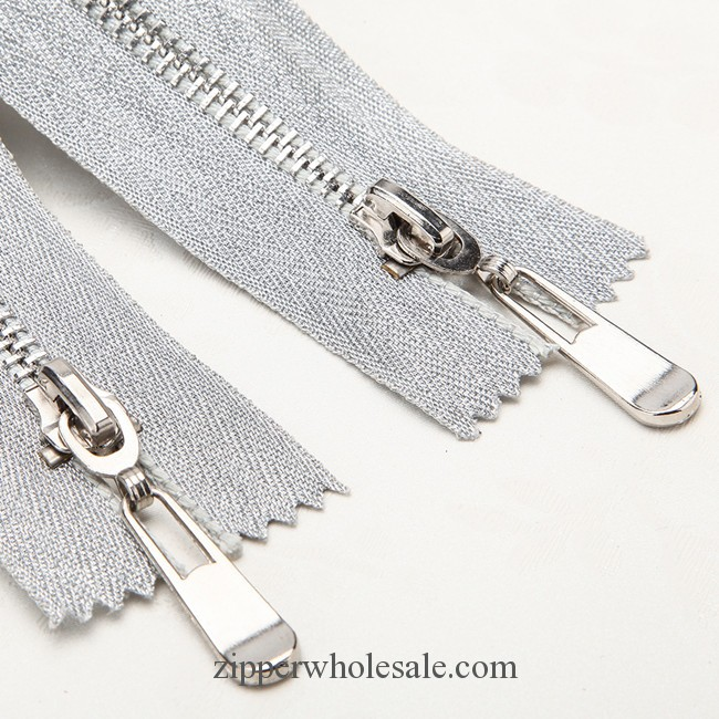 metal zippers with Silver Ribbon tape wholesale
