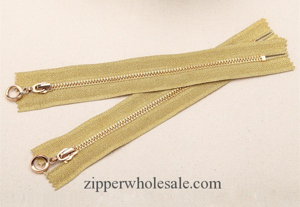 gold teeth gold tape metal zippers wholesale