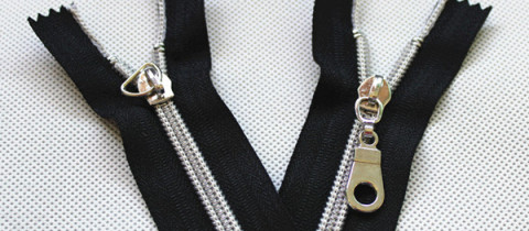 silver nylon zippers with silver sliders pulls