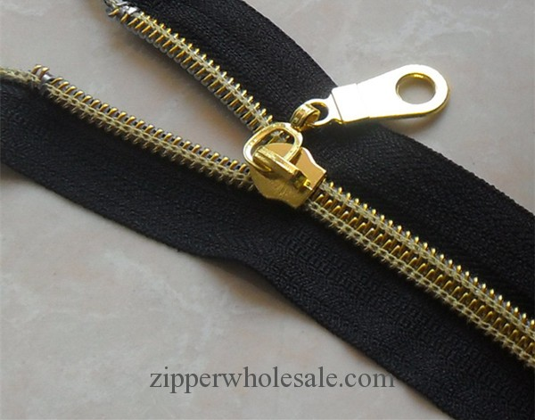 gold teeth nylon coil zippers wholesale