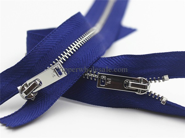 high polished shiny nickel metal zippers