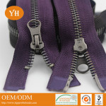 two way double sliders metal zippers for jackets
