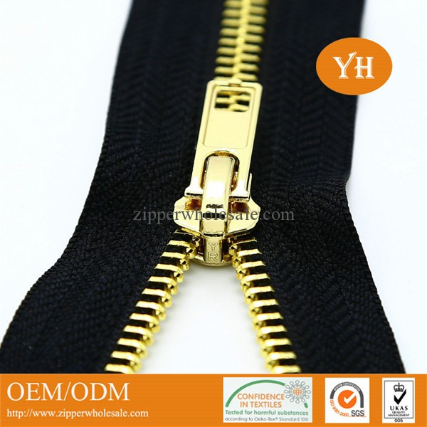 zipper factory wholeasle high polished gold metal zippers