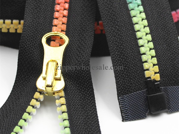 colorful teeth resin zippers for sale