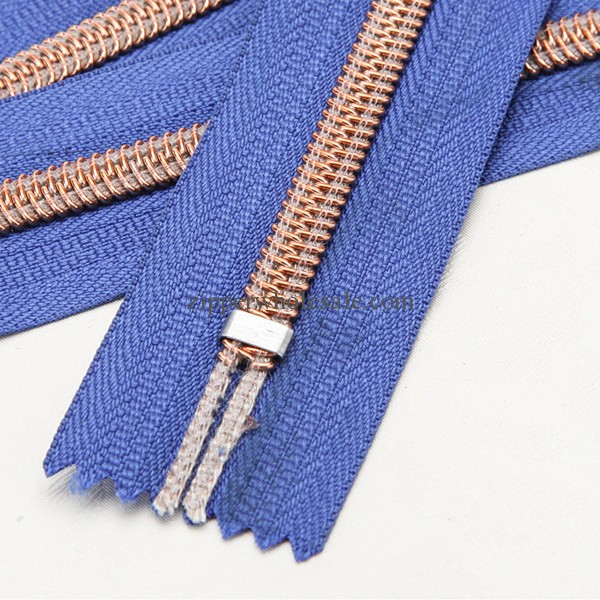 rose gold teeth nylon zippers wholesale