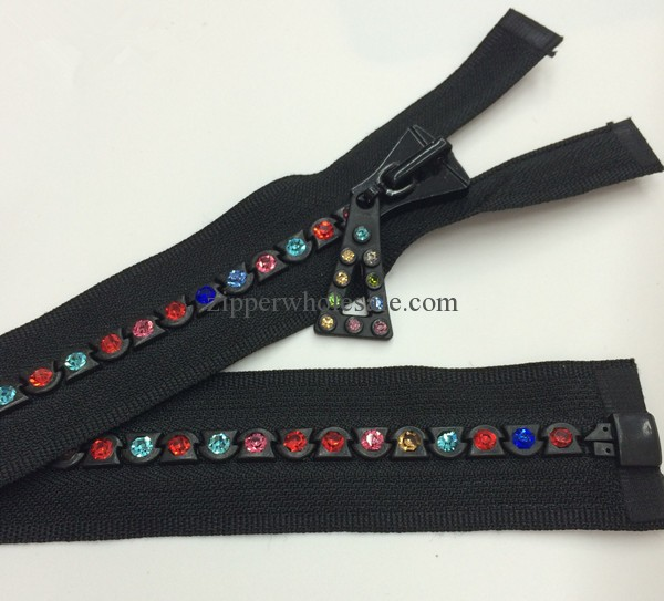 #8 rhinestone zippers with multi color stones