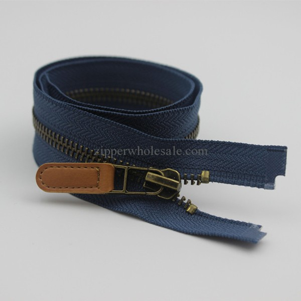 metal zippers with leather pulls wholesale
