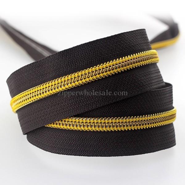 NZ3077 metallic gold coil zippers wholesale