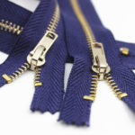 smooth high polished finish gold metal zippers