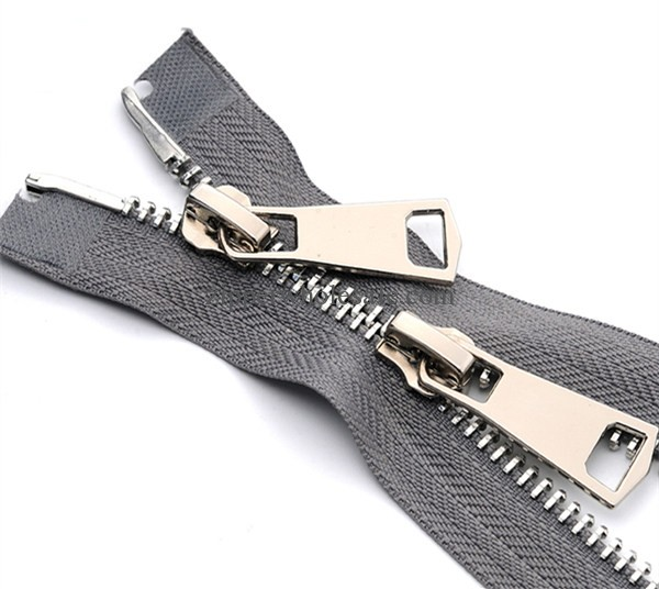 high polished shiny silver two way metal zippers