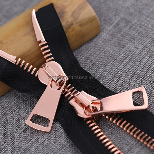 two way rose gold metal zippers wholesale