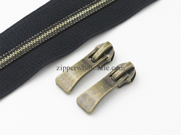 #5 Antique Brass Metallic Nylon Coil Zippers By The Yard