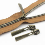 Metalic Anti-Brass Nylon Zippers Antique Brass Sliders