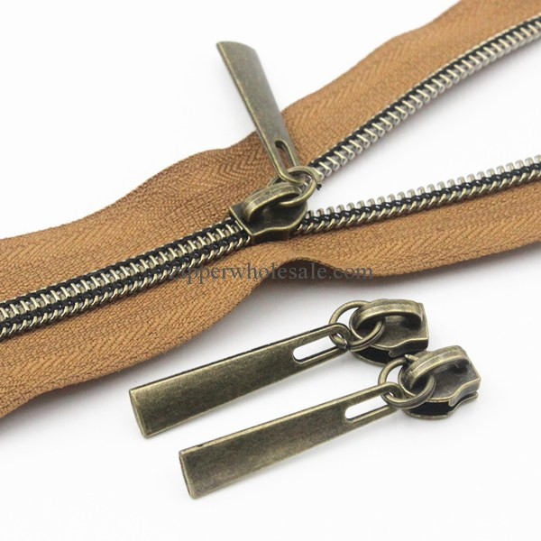 Metalic Nylon Zippers Brown Tape with Anti-Brass Sliders