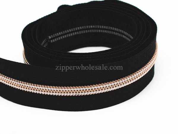 Metalic Rose Gold Metallic Rose Golden Nylon Coil Zippers