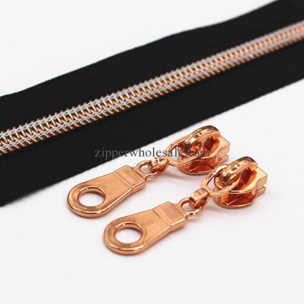 Metallic Rose Gold Nylon Zippers Rose Golden Sliders
