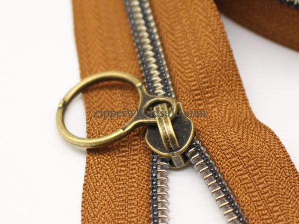 metallic antique brass nylon zipper wholesale price